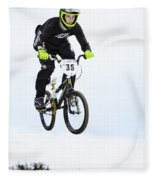 Bmx Racer Goes Airborne Fleece Blanket