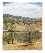 Bnsf4604 Manifest Westbound In The Tehachipi Loop. Fleece Blanket