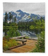 Board Walk- Lake- Fir Trees And Mount Baker Fleece Blanket