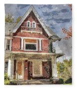 Boarded Up Old Characer Home Watercolor Fleece Blanket