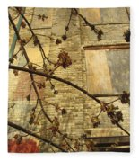 Boarded Windows And Branches Fleece Blanket