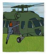 Boarding A Helicopter Fleece Blanket