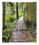 Boardwalk On The Rainforest Trail In Fleece Blanket