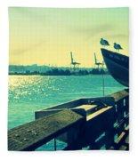 Boat At Alki Beach Fleece Blanket