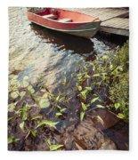 Boat At Dock  Fleece Blanket
