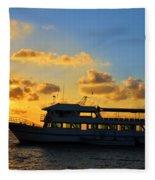 Boat At Sunrise Fleece Blanket