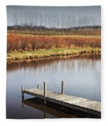 Boat Dock On A Pond In South West Michigan Fleece Blanket