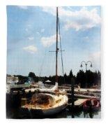Boat - Docked Cabin Cruiser Fleece Blanket
