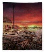 Boat - End Of The Season  Fleece Blanket