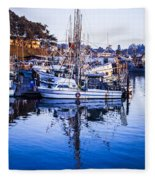 Boat Mast Reflection In Blue Ocean At Dock Morro Bay Marina Fine Art Photography Print Fleece Blanket