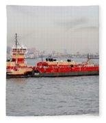 Boat Meet Barge Fleece Blanket
