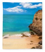 Boat On Beach Algarve Portugal Fleece Blanket
