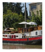 Boat On Canal Du Midi Homps France Dsc01717  Fleece Blanket