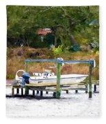 Boat On Dock Fleece Blanket