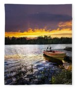 Boat On Lake At Sunset Fleece Blanket
