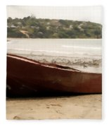 Boat On Shore 02 Fleece Blanket