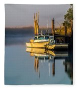 Boat On The Creek Fleece Blanket