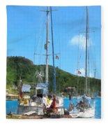Boat - Relaxing At The Dock Fleece Blanket