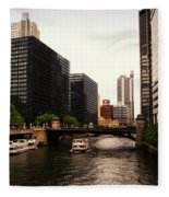 Boat Ride On The Chicago River Fleece Blanket