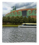 Boat Ride Past The Swan Resort Walt Disney World Fleece Blanket