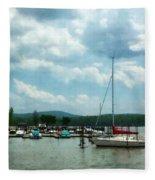 Boat - Sailboat At Dock Cold Springs Ny Fleece Blanket