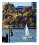 Boat - Sailboat Near Chelsea Pier Fleece Blanket