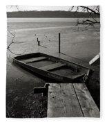 Boat In Ice - Lake Wingra - Madison - Wi Fleece Blanket