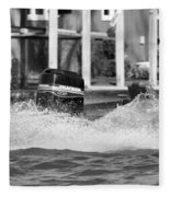 Boat Wake Black And White Fleece Blanket