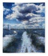 Boat Wake Photo Art 02 Fleece Blanket