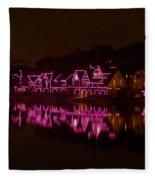 Boathouse Row In Pink Fleece Blanket