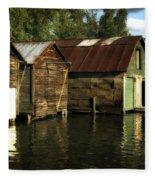 Boathouses On The River Fleece Blanket
