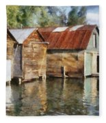 Boathouses On The Torch River Ll Fleece Blanket