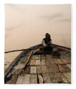 Boating At Sangam Fleece Blanket