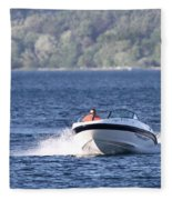 Boating On Grand Traverse Bay Fleece Blanket