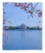 Boats Across The Basin Of Blossoms Fleece Blanket