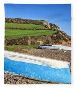 Boats Along Branscombe Beach Fleece Blanket