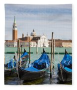 Boats Anchored At Marina Venice, Italy Fleece Blanket