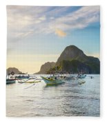 Boats Anchored In Bacuit Bay And Cadlao Fleece Blanket