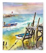 Boats And Boardwalks By Brittany 01 Fleece Blanket
