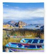 Boats And Floating Islands Fleece Blanket