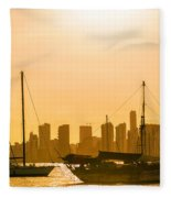 Boats And Skyscrapers Fleece Blanket