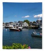 Boats At A Harbor, Nantucket Fleece Blanket