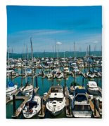 Boats At Bay Fleece Blanket