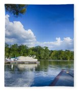 Boats At Dock On A Lake With Blue Sky Fleece Blanket