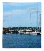 Boats At Newport Ri Fleece Blanket