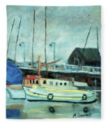 Boats At Provincetown Ma Fleece Blanket