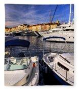 Boats At St.tropez Fleece Blanket