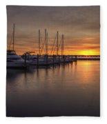 Boats At Sunset Fleece Blanket