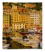 Boats At The Harbor, Camogli, Liguria Fleece Blanket