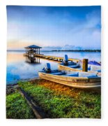 Boats At The Lake Fleece Blanket